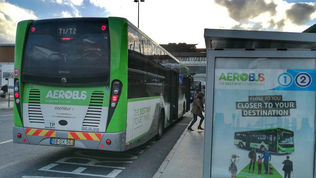 Aerobus assure le transfert en bus entre l'aeroport de lisbonne et les principaux hotels du centre ville