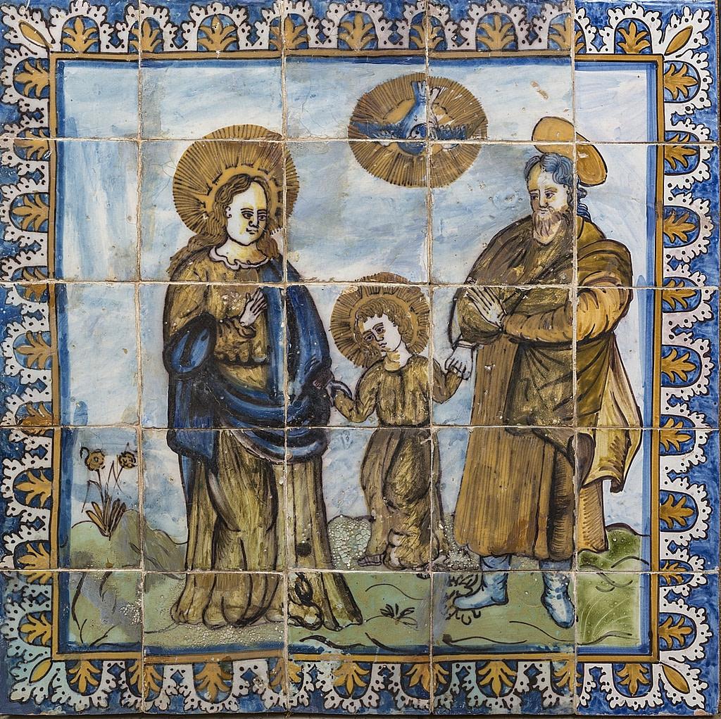 Représentation religieuse de la sainte famille sur un panneau d'azulejos polychromes