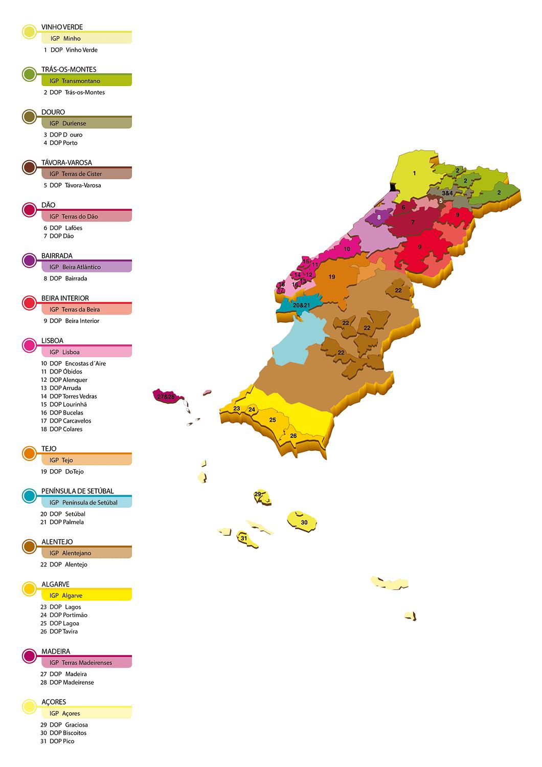 Carte des régions viticoles du Portugal