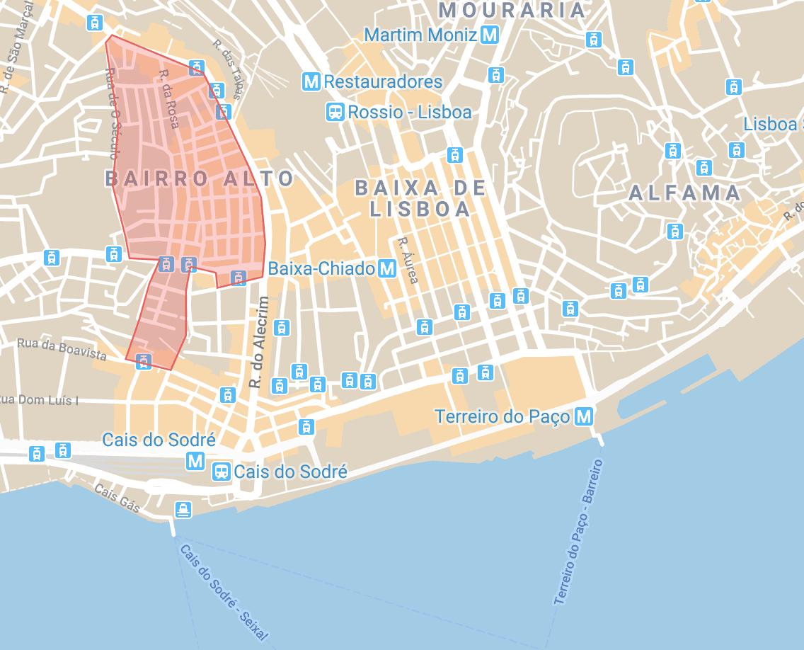 Se loger à Lisbonne carte du quartier de Bairro Alto et Bica
