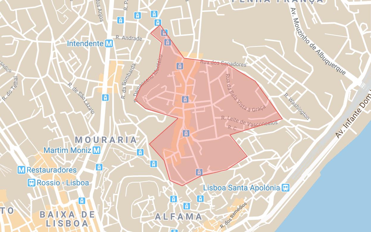 Se loger à Lisbonne carte du quartier de Graça