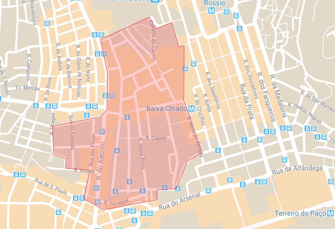 Se loger à Lisbonne carte du quartier de Chiado