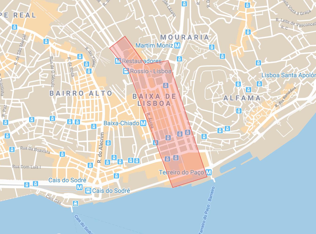 Se loger à Lisbonne carte du quartier de Baixa