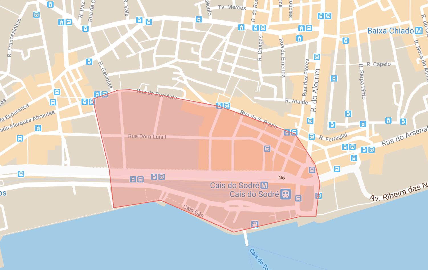 Se loger à Lisbonne carte du quartier de Cais do Sodre