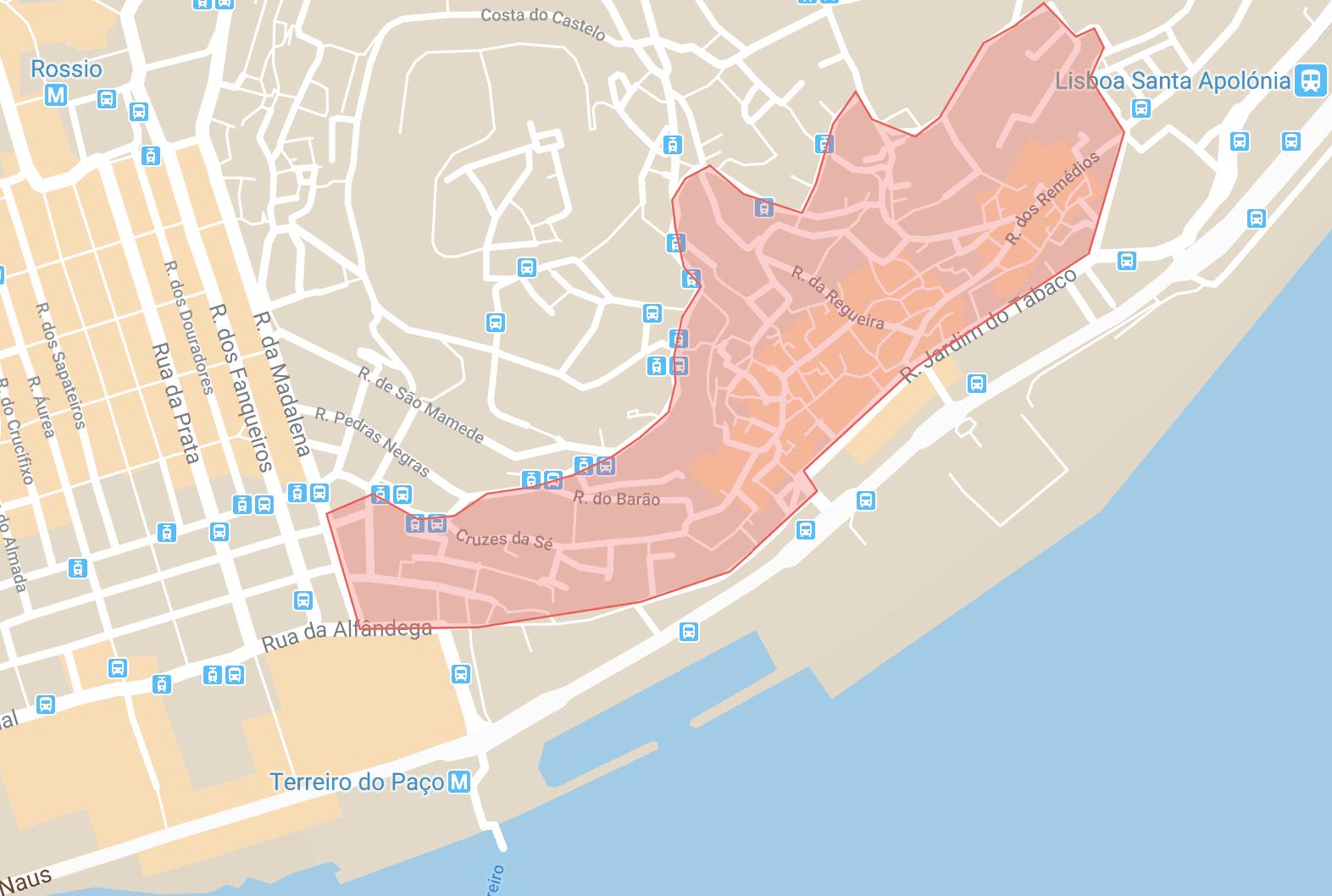 Se loger à Lisbonne carte du quartier Alfama