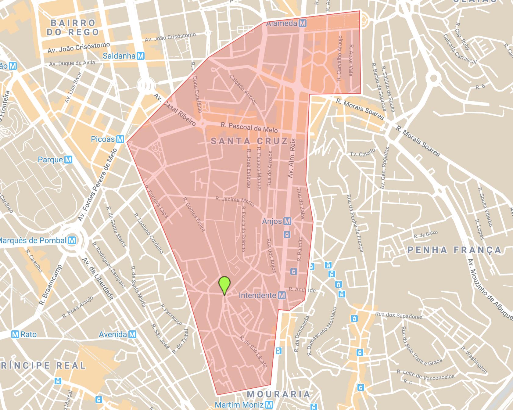Se loger à Lisbonne carte du quartier Arroios