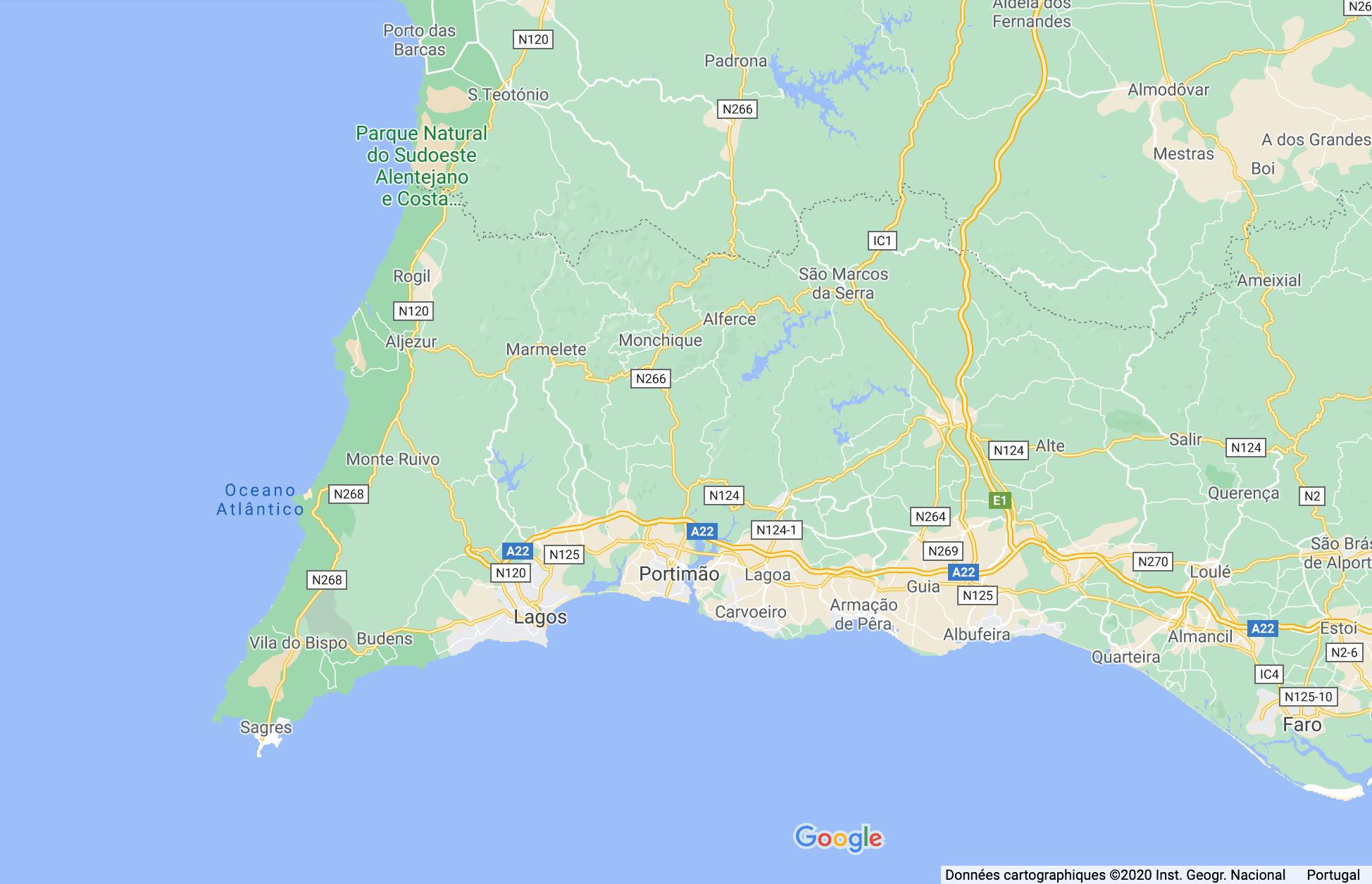 carte d'un road trip surf en Algarve