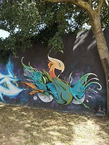 """Oeuvre de street art par Klit, sur le mur d'Amoreiras, le célèbre """"Wall of Fame""""à Lisbonne"""