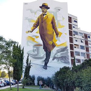 Odeith, artiste street art à Lisbonne avec fernando pessoa