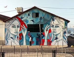 Peinture murale de Jacqueline de Montaigne pour le bar brésilien Boteco da Dri à Lisbonne