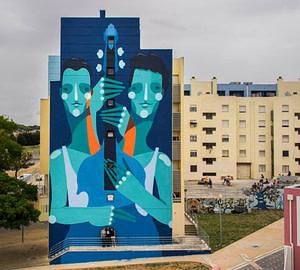 Zesar Bahamonte, street artiste dans le quartier de Marvila à Lisbonne