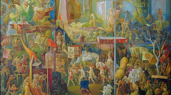 Corpus Christi : Joao 1er sous le pallium (oeuvre de Jaime Martins Barata).