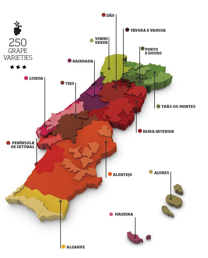Carte des Vins de la région de Lisbonne et du Portugal