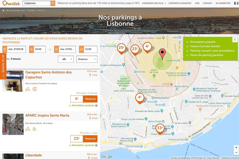 Parclick, une plateforme idéale pour trouver des parkings privés pas chers sur Lisbonne.