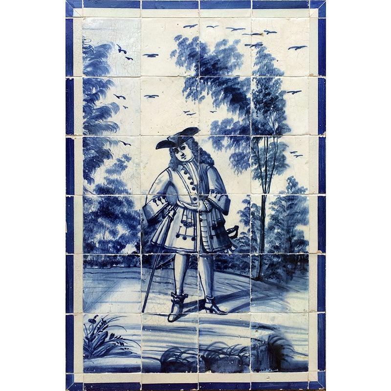 Gentilhomme ou fidalgo en portugais représenté sur un panneau d'azulejos monochromes bleus