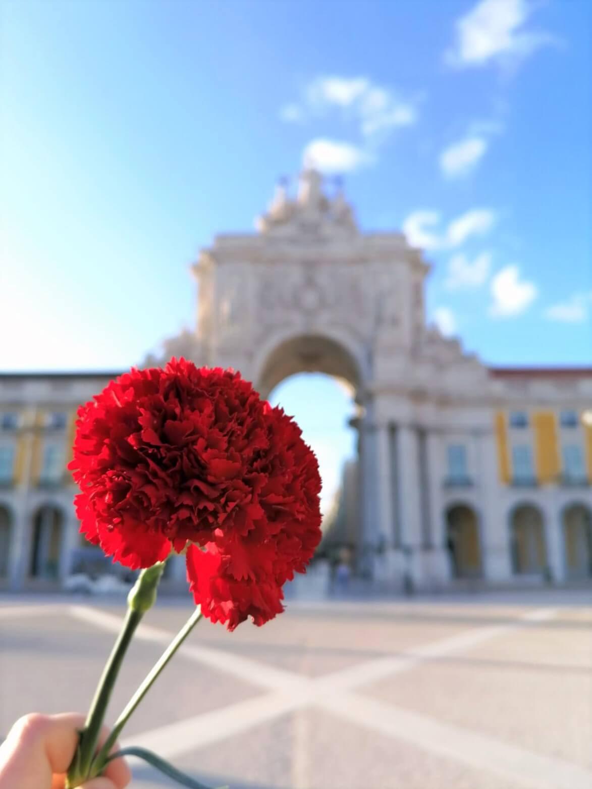 oeillet rouge symbole de la révolution du 25 avril dans la praça do comercio